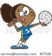 Cartoon Athletic Black Girl Serving a Volleyball by Toonaday