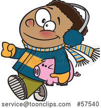 Cartoon Happy Black Boy in Winter Clothes, Carrying His Piggy Bank to Go Christmas Shopping by Toonaday