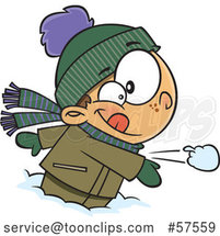 Cartoon White Boy Throwing a Snowball by Toonaday