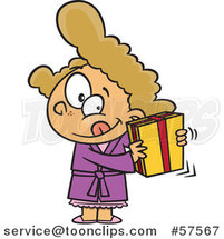 Cartoon of Girl Shaking a Gift by Toonaday