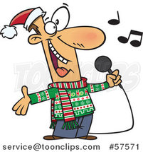 Cartoon of Man Singing Christmas Karaoke Songs by Toonaday