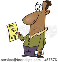 Cartoon Black Guy Holding a Bill by Toonaday