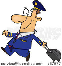 Cartoon White Airline Pilot Walking Proudly with a Rolling Suitcase by Toonaday