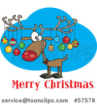 Cartoon of Reindeer with Ornaments on His Antlers Above Merry Christmas Text by Toonaday