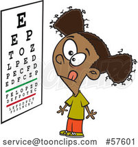 Cartoon Black Girl Looking at an Eye Chart by Toonaday