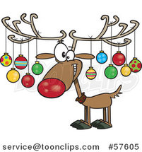 Cartoon of Christmas Reindeer with Ornaments on His Antlers by Toonaday