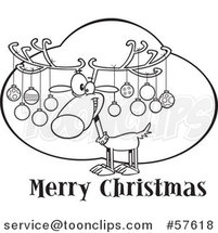 Cartoon Outline of Reindeer with Ornaments on His Antlers over Merry Christmas Text by Toonaday