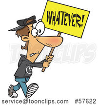 Cartoon White Protester Walking with a Whatever Sign by Toonaday
