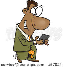 Cartoon Black Businessman Walking and Texting on His Smart Phone by Toonaday