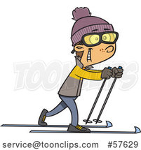 Cartoon White Boy Cross Country Skiing by Toonaday