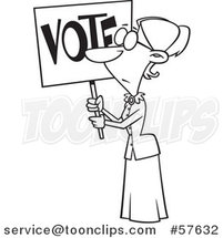 Cartoon Outline of Lady, Susan Anthony, Holding up a Vote Sign by Toonaday