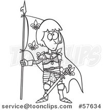 Cartoon Outline of Joan of Arc Standing with a Flag by Toonaday