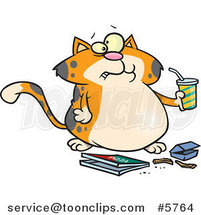 Cartoon Fat Orange Cat Binging Fast Food by Toonaday
