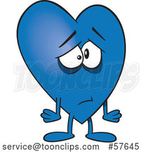 Cartoon Sad Blue Love Heart Character by Toonaday