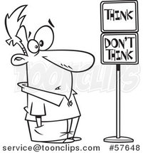 Cartoon Outline of Man Staring at Think and Dont Think Signs by Toonaday