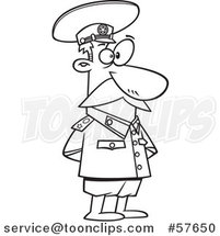 Cartoon Outline of Guy, Joseph Stalin, Standing with His Hands Behind His Back by Toonaday