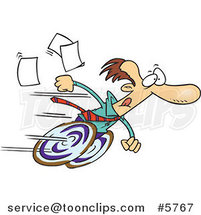 Cartoon Fast Business Man on Wheels by Toonaday