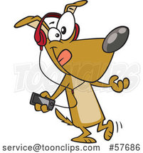 Cartoon Dog Dancing and Listening to Music with an MP3 Player by Toonaday