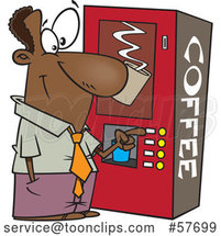Cartoon Black Businessman Using a Coffee Machine at Break Time by Toonaday