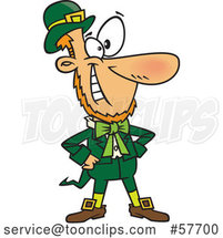 Confident Cartoon St. Patrick's Day Leprechaun Grinning by Toonaday
