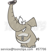 Cartoon Grinning Lucky Elephant by Toonaday