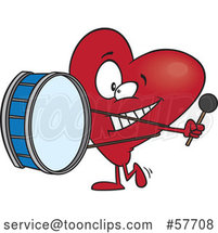Cartoon Love Heart Character Playing a Drum Music by Toonaday