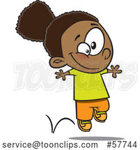 Cartoon Happy Black Girl Hopping by Toonaday