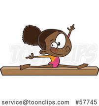 Cartoon Black Girl Gymnast Doing the Splits on a Balance Beam by Toonaday