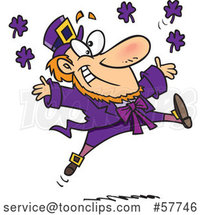 Cartoon Leaping Purple Leprechaun by Toonaday