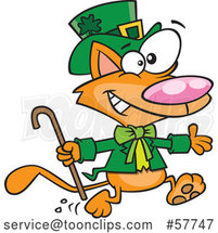 Cartoon Running St Patricks Day Ginger Leprechaun Cat by Toonaday