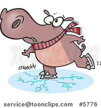 Cartoon Hippo Skating on Cracking Ice by Toonaday