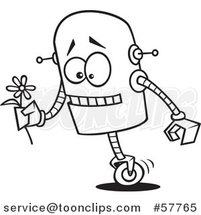 Cartoon Outline of Romantic Robot Holding a Flower by Toonaday