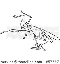 Cartoon Outline of Crazy Hungry Mosquito by Toonaday