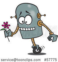 Nervous Cartoon Robot Trying to Deliver a Delicate Flower by Toonaday
