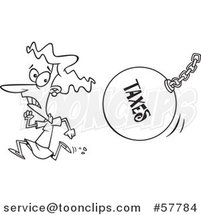 Cartoon Outline of Woman Running from a Taxes Wrecking Ball by Toonaday