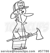 Cartoon Outline of Woman Fireman Holding an Axe by Toonaday