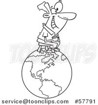 Cartoon Outline of Happy Man Sitting on Top of the World by Toonaday
