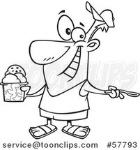 Cartoon Outline of Man Enjoying a Treat on Ice Cream Day by Toonaday