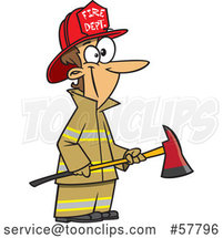 Cartoon White Lady Fireman Holding an Axe by Toonaday