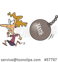 Cartoon White Lady Running from a Taxes Wrecking Ball by Toonaday