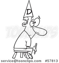 Cartoon Outline of Bad Cartoonist Holding a Pencil, Sitting on a Stool and Wearing a Dunce Cap by Toonaday