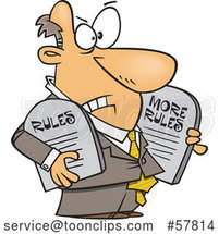 Cartoon White Businessman Carrying More Rules Tablets by Toonaday