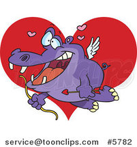 Cartoon Cupid Hippo over a Heart by Toonaday