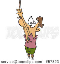 Cartoon White Guy Hanging from a Rope End by Toonaday