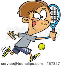 Cartoon White Boy Playing Tennis by Toonaday