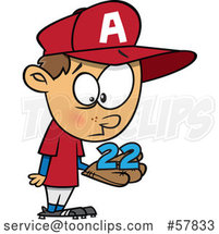 Cartoon White Boy Baseball Player Holding a Catch 22 by Toonaday