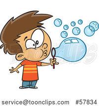 Cartoon White Boy Blowing Bubbles by Toonaday