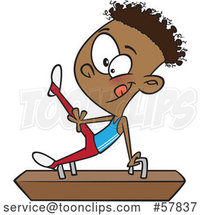 Cartoon Black Boy Gymnast on a Pommel Horse by Toonaday