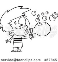 Cartoon Outline of Boy Blowing Bubbles by Toonaday
