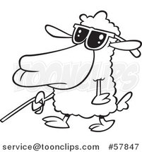 Cartoon Outline of Blind Sheep Walking with a Cane by Toonaday
